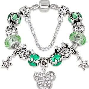 Green and Silver Mickey and Minnie Charm Bracelet